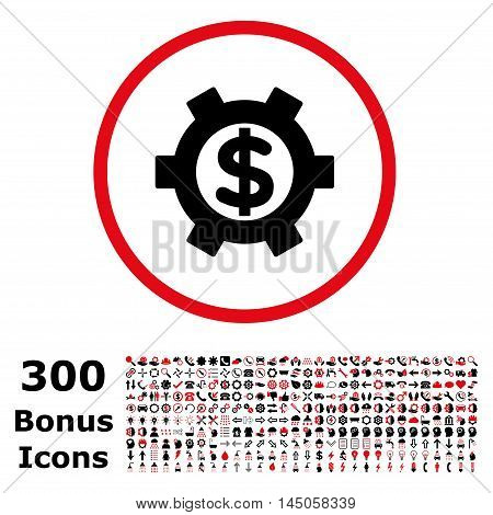 Financial Settings rounded icon with 300 bonus icons. Vector illustration style is flat iconic bicolor symbols, intensive red and black colors, white background.