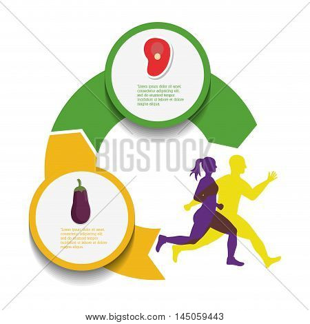 runner man woman eggplant meat athlete running training fitness healthy lifestyle sport marathon icon. Colorful and flat design. Vector illustration