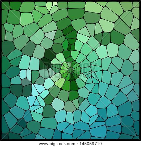 Abstract Background Consisting Of Green Geometrical Shapes With Thick Black Borders, Vector Illustra