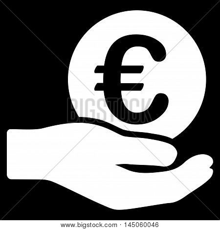 Euro Salary icon. Vector style is flat iconic symbol, white color, black background.