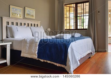 SWAKOPMUND NAMIBIA - JAN 31 2016: Accommodation unit interior at Cornerstone Guesthouse. It is a small private an easy walk to the sea and the town centre of Swakopmund on Namibia's fascinating Skeleton Coast