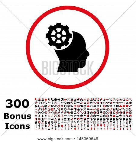 Head Gear rounded icon with 300 bonus icons. Vector illustration style is flat iconic bicolor symbols, intensive red and black colors, white background.