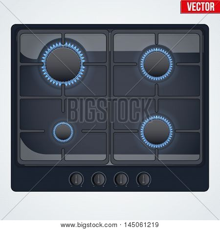 Surface of black gas hob is on and with flame. Top view of stove. Domestic equipment. Editable Vector illustration Isolated on white background.
