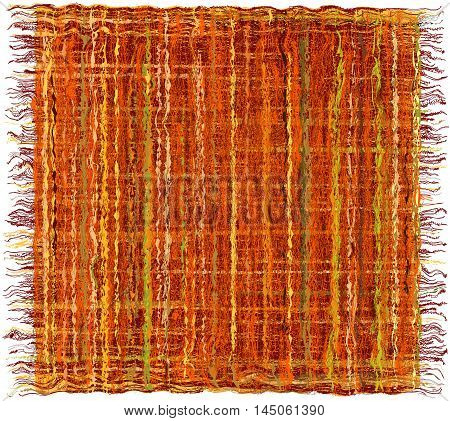 Colorful weave grunge striped carpet with fringe in indian style isolated on white