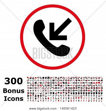 Incoming Call rounded icon with 300 bonus icons. Vector illustration style is flat iconic bicolor symbols, intensive red and black colors, white background.