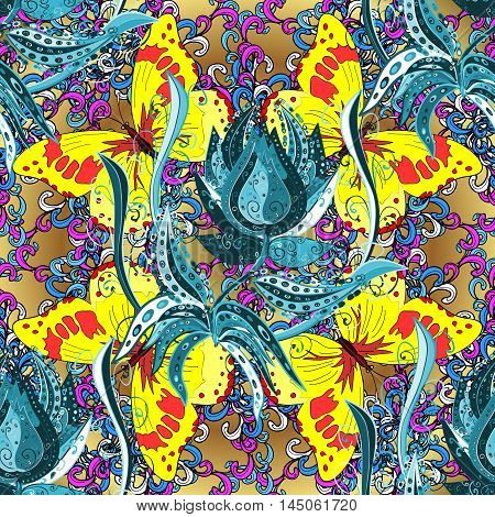 Vector vivid abstract hand drawn pattern with blue flowers and yellow butterflies.