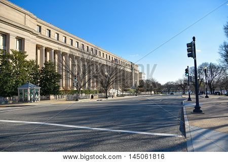 Washington DC, December 19, 2015: Street view and life of Washington city near Washington Monument and Holocaust Memorial Museum.