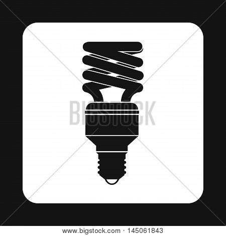 Fluorescent saving light bulb icon in simple style on a white background