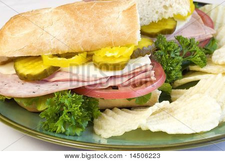 Italian Submarine Sandwich With Chips