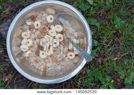 Delicious porridge with cereals mountain hiking meals