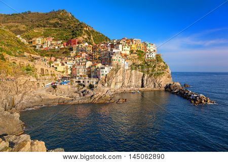 Manarola town at the Ligurian Sea, Italy