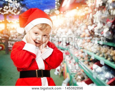 portrait of little kid santa claus