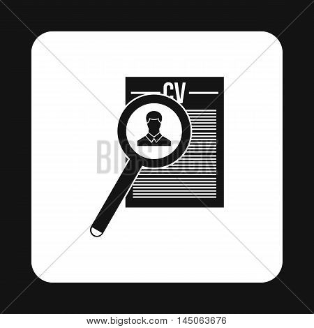 Magnifying glass over curriculum vita icon in simple style on a white background