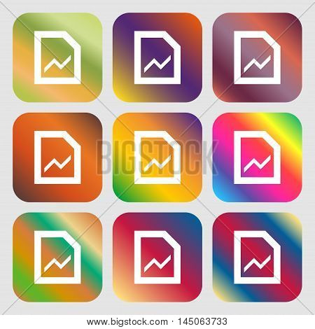 Growth And Development Concept. Graph Of Rate Icon. Nine Buttons With Bright Gradients For Beautiful