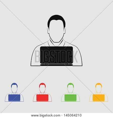 People with computer  Vector Icon for web and mobile