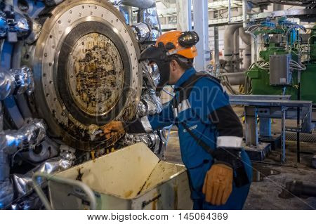 Tobolsk, Russia - July 15. 2016: Sibur company. Tobolsk Polymer plant. Industrial mechanic cleaning extruder machine