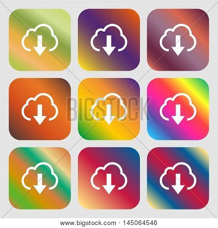 Download From Cloud Icon. Nine Buttons With Bright Gradients For Beautiful Design. Vector