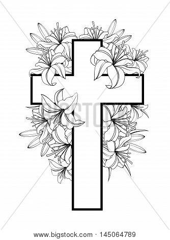 Cross with white lilies. Christian symbol of purity and innocence. black and white vector illustrations isolated on white background.
