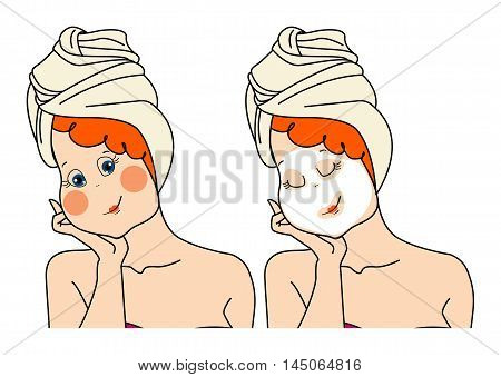 Woman makes a face mask.Two images of a woman pack. Vector iisolated illustration on white background