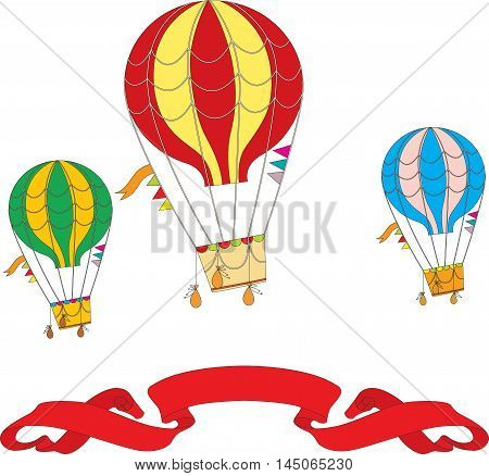 Hot Air Balloon Day. large color Hot Air Balloon in the clouds. vector illustration isolated on white background with text greeting. banner cartoon style