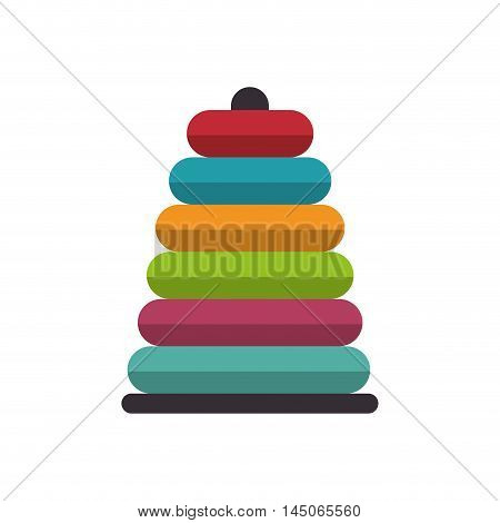 Stacking Ring toy kid game child entertainment object vector illustration