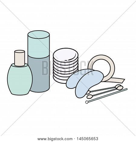 hygiene icon. Vector Picture. lash extensions materials . eye patches. cotton buds. color image. cotton sponge. Brush for eyelashes. mascara bud. cosmetology elements. bottle for cosmetics