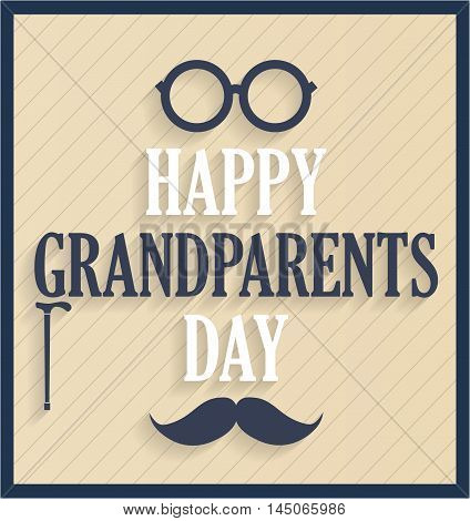 Grandparents Day retro poster with glasses and mustache. Vector illustration.