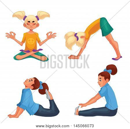 Set with blond and brown haired girls doing yoga, cartoon style vector illustration isolated on white background. Kids yoga, little girls in yoga asanas, healthy lifestyle