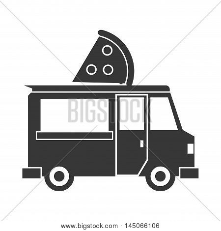 pizza truck delivery fast food urban business icon. Flat and isolated design. Vector illustration