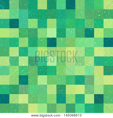 Vintage Seamless Abstract Background With Green Squares, Vector Illustration