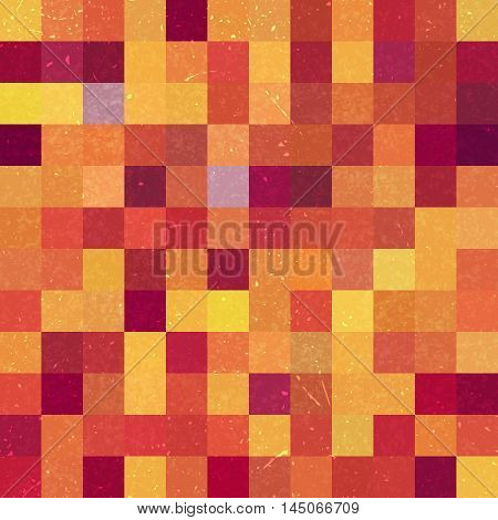 Seamless Geometric Checked Pattern. Ideal For Printing Onto Fabric And Paper Or Decoration. Red, Ora