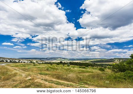 Beautiful view of valley. The central part of the Crimean. Stock photo.