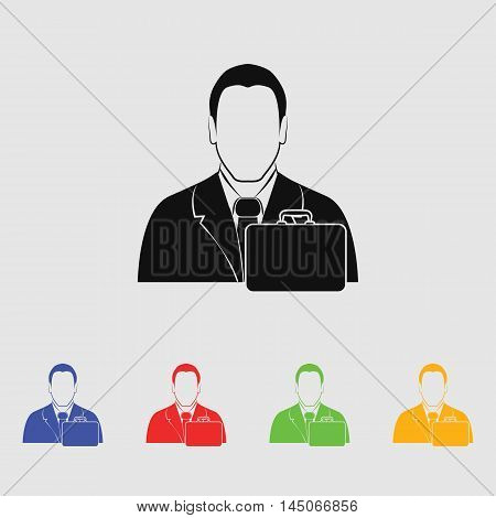 businessman with diplomat  Vector Icon for web and mobile