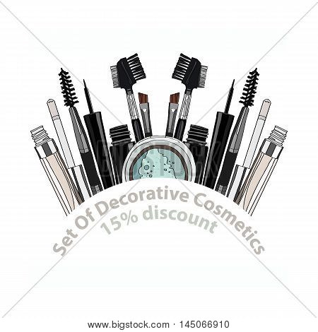 set of decorative cosmetics - eye shadow, liner, mascara, comb, brush, dropper, a balm for the eyes, eyebrow balm. 15 discount. vector illustration for cosmetic banners, brochures and promotional items