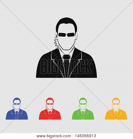 Bodyguard agent man simple  Vector Icon for web and mobile
