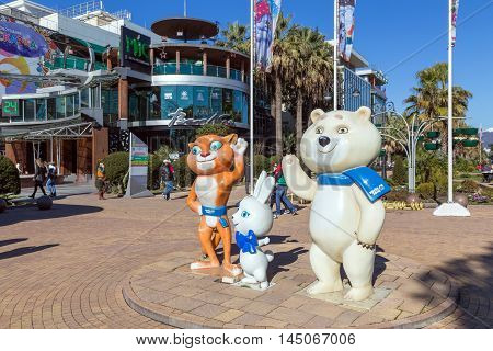 Sochi, Russia - February 9, 2016: Sculptural composition - The three mascots of the Winter Olympics 2014, Navaginskaya street.