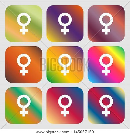 Symbols Gender, Female, Woman Sex Icon. Nine Buttons With Bright Gradients For Beautiful Design. Vec