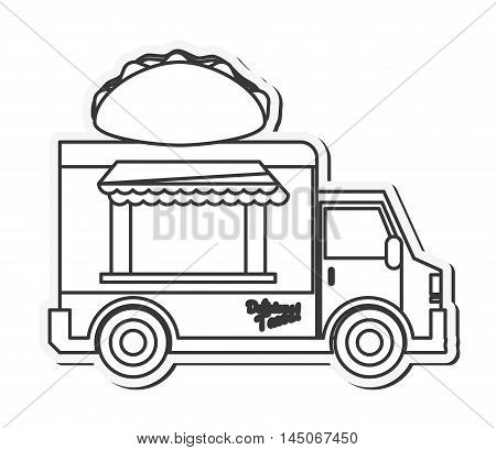 taco truck delivery fast food urban business icon. Flat and isolated design. Vector illustration