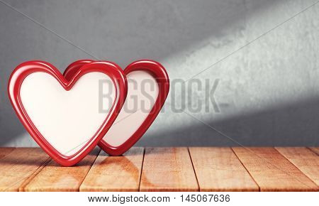 Two hearts on wooden table over gray background. 3d rendering