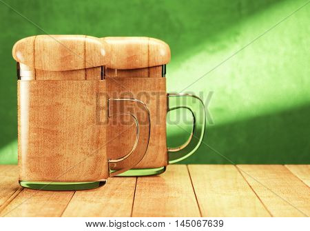 Two souvenir beer mugs on wooden table over green background. 3d rendering