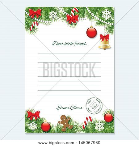 Christmas letter from Santa Claus templatewith decorated fir branches.