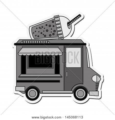 drink truck delivery fast food urban business icon. Flat and isolated design. Vector illustration