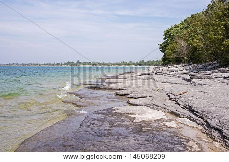 Lake Ontario shore line in Prince Edward County Canada