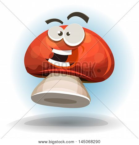 Illustration of a cartoon mushroom character happy and smiling