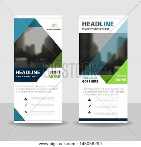 Blue green triangle roll up business brochure flyer banner design cover presentation abstract geometric background modern publication x-banner and flag-banner layout in rectangle size.