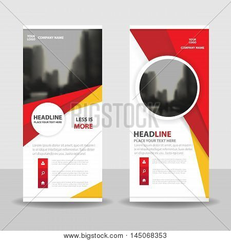 Red yellow circle roll up business brochure flyer banner design cover presentation abstract geometric background modern publication x-banner and flag-banner layout in rectangle size.
