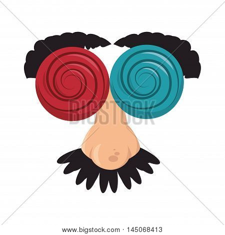 crazy funny mask disguise prank glasses eyebrowns vector illustration