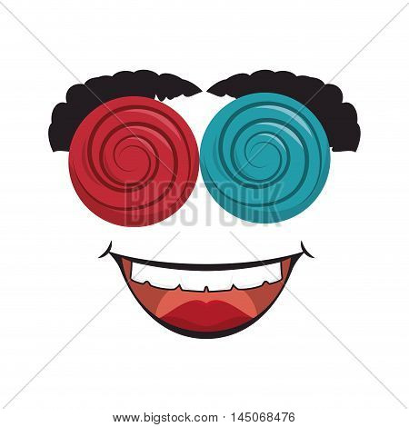 crazy funny mask smiling disguise prank glasses eyebrowns vector illustration