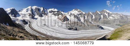 Bernina. Rhatikon. Graubunden. Switzerland Mountain Range Landmark Panorama