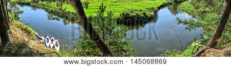 Kayaks River Nature Landscape Active Holidays Panorama